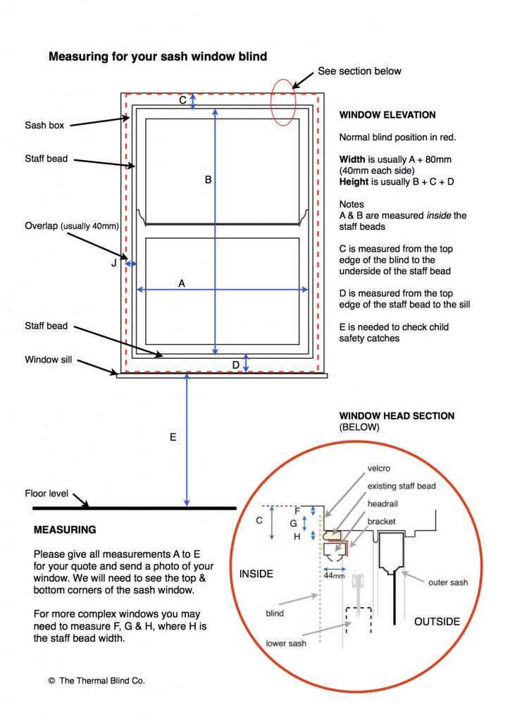 measuring for thermal blinds for sash windows the thermal blind co. Black Bedroom Furniture Sets. Home Design Ideas
